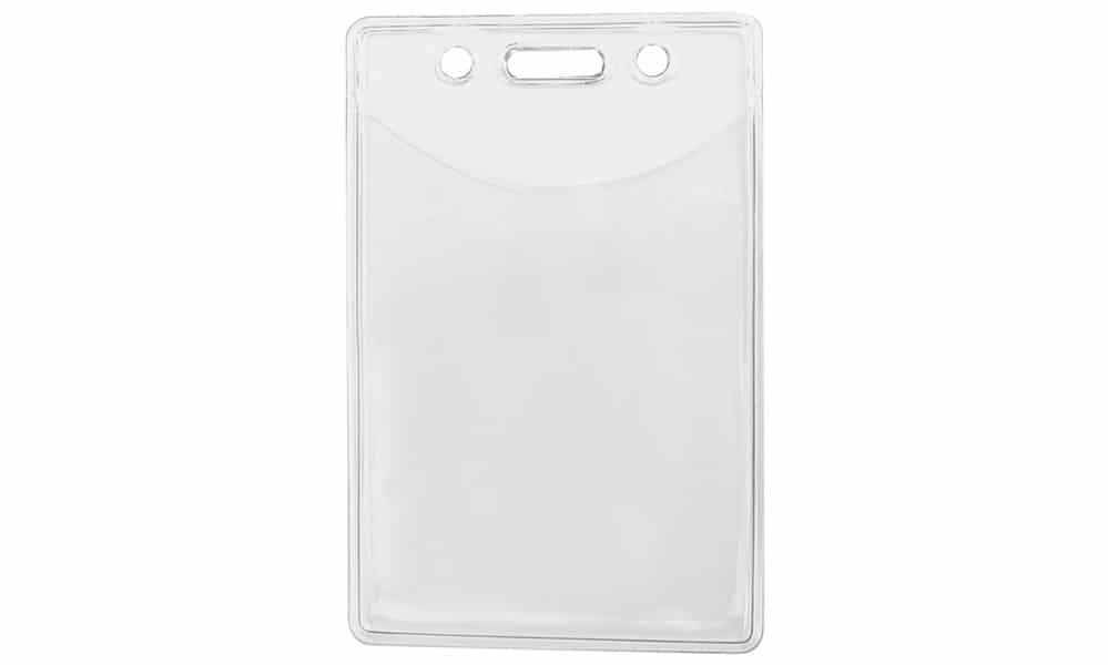 Vertical Vinyl Badge Holder Credit Card Size Clear Both